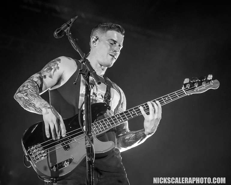 """All Time Low bassist Zack Merrick  performs during the """"Summer Ever After"""" tour with Dashboard Confessional on the Sands Steel Stage at PNC Plaza during Musikfest on Saturday, August 11, 2018."""