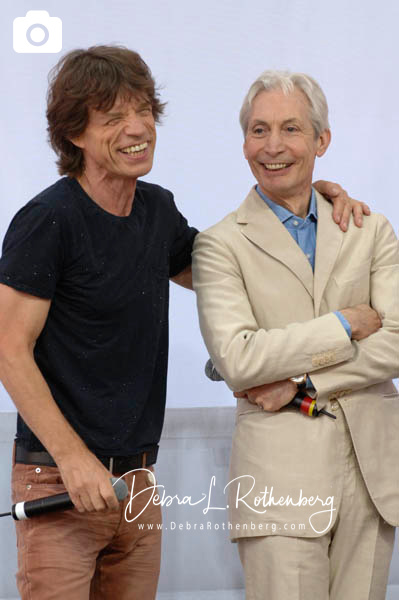 Mick Jagger and Charlie Watts of The Rolling Stones at the Performance And Press Conference To Announce Plans For Their Upcoming World Tour at Lincoln Center on May 5, 2005