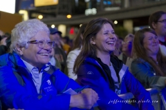 Audience participation with Choir!Choir!Choir! performing songs of The Tragically Hip at Dundas Square in Toronto.