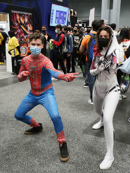Friday October 8, 2021: New York's Comic Con at the Javits isssss bbbaacckkk.... and attendees couldn't have been happier.  Amid all the vaccination and mask requirements fans of all ages showed up, many in full costume regalia as is tradition for this event.  All seemed in good spirits and happy to back meeting among their favorite stars and all the Merch Merch Merch!!!!  One of the best highlights was NASA's participation!  A speaking panel consisting of Astronaut Jasmin Moghbeli, sharing her excitement of the Lunar Lander. Overall it was good to see everyone in their dressed in their best Cosplay at NYCC!  Photo by Lydia Perez