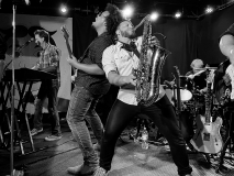 (L-R) David Turner (keyboards), Jarod Clemons (guitar), Zack Sandler (saxophone), Rich Hodder (drums) during a performance by The E Street Shuffle at The Wonder Bar in Asbury Park on June 26.